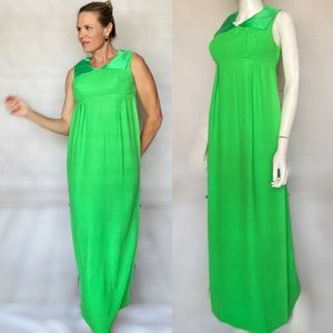 Vintage Lime Green Poly and Satin Maxi Dress 1960s